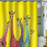 colorful-giraffe-theme-on-yellow-background-kids-shower-curtain-decoration-ideas